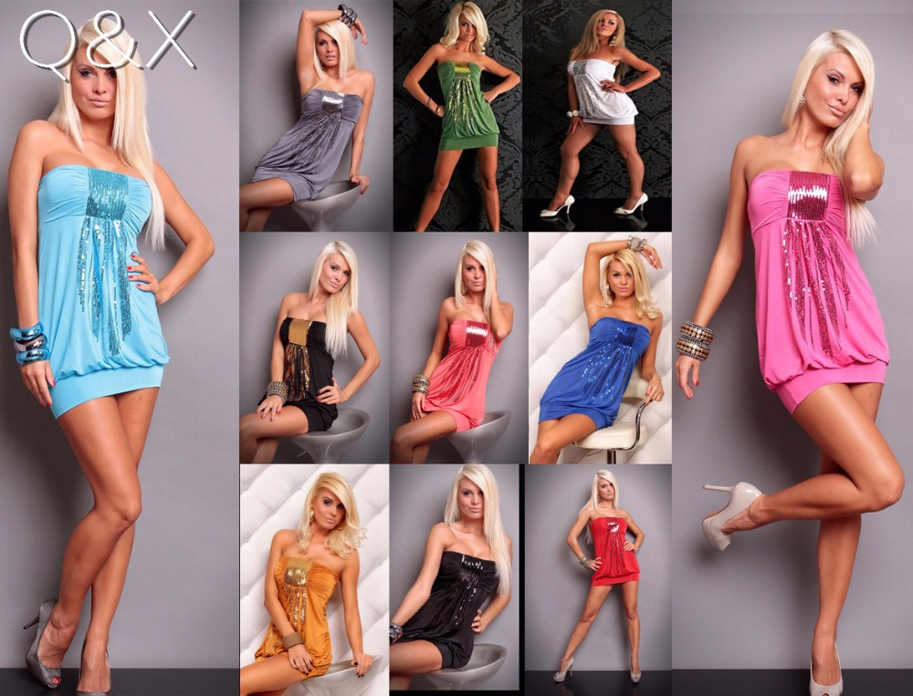DL122 2017 Sexy Women Sequin Plus Size Short Dress Hot Custom Made Sexy Costumes Underwear Slips Intimates Night Club Dress