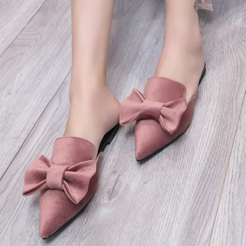 Bowtie Suede Summer Slipper Sandals