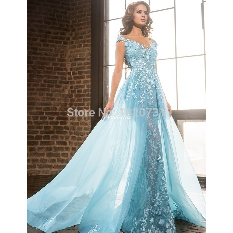 2019 New Listing Sweetheart Long   Prom     Dresses   Light Blue Appliques Lace Cap Sleeve Formal Gowns   Prom   Party   Dresses