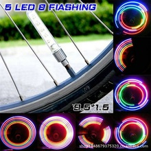 2pcs/1 PairBike 5 LED Colorful Light Lamp Neon Valve Firefly Bicycle Wheel Tire Valve Caps Spoke Sense Lamp Bicycle Accessories