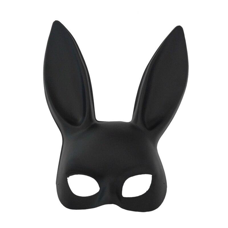 1pcs Women Girl Rabbit Mask Black White Halloween Masquerade Party Rabbit Ears Mask