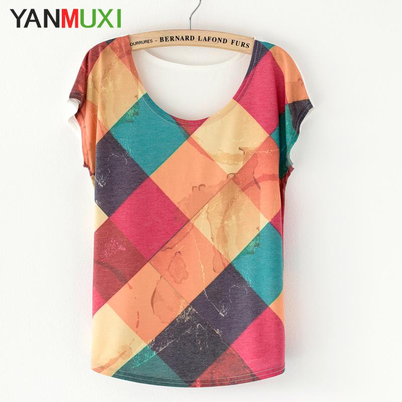 2017 Sexy Blusa Harajuku Summer New Womens T Shirt Short Sleeve Off Shoulder Geometric Patterns Print Female T-shirt
