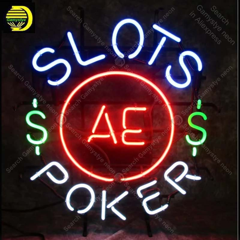 Slots AE Poker Vintage Neon Light Advertising Sign Mancave Garage Art Neon Neon Bar Sign Handcrafted Real Glass Tubes decorate