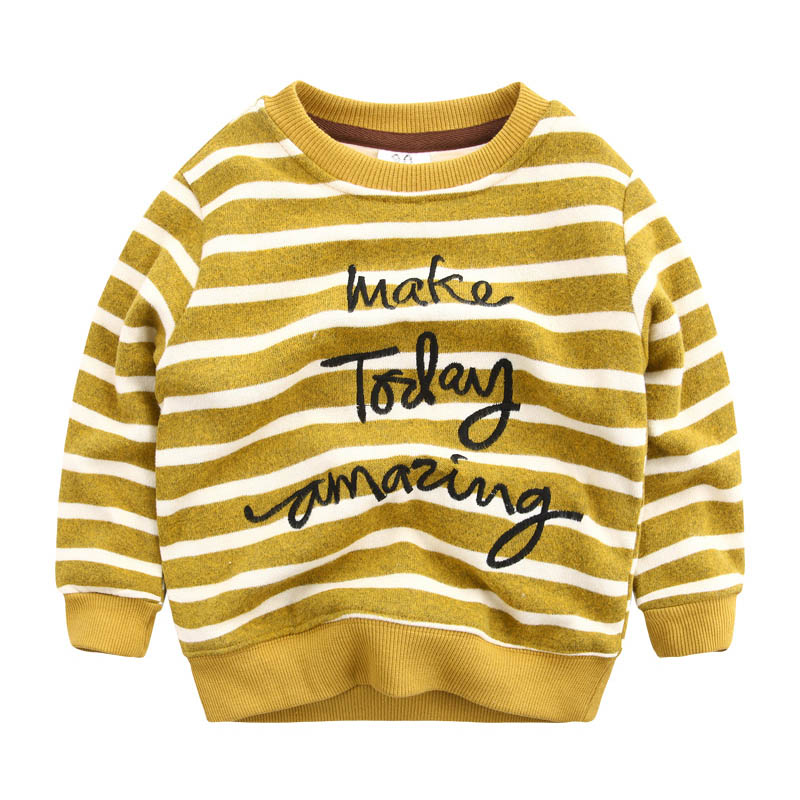 IMMDOS Boys Sweatshirts Tops 2017 New Brand Stripe O-neck Long Sleeve Kids Blouse Winter Thicken Pullover Children Clothing 3-7Y