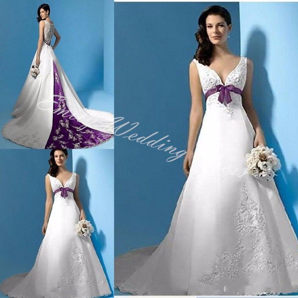 modest white and purple wedding dresses embroidery vestido de noiva 2017 gelinlik v neck sweep train white bridal gowns