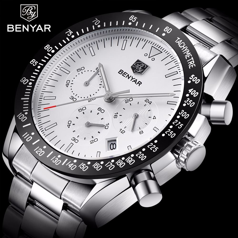BENYAR Men's Analog Quartz Fashion Watch Luxury Waterproof Sports Watch Steel Man Watches Relogio Masculino цена