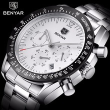 BENYAR Mens Analog Quartz Fashion Watch Luxury Waterproof Sports Steel Man Watches Relogio Masculino