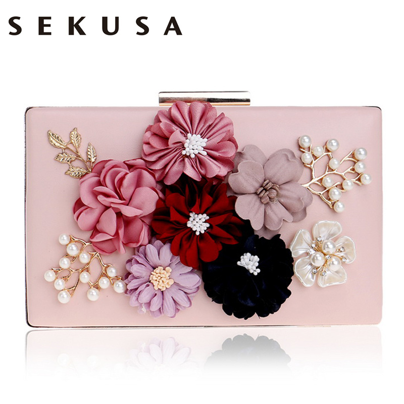 цены SEKUSA PU Fashion Women Evening Bag Flower Beaded Small Day Clutch Evening Bag With Chain Shoulder Handbags Leather Metal Purse