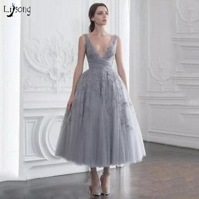 db6a2cf56b18 Charming Gray Appliques Tulle Midi Length Prom Dresses Multi Layers Women  Party Gown Tea Length Vestidos Noiva Festa Soiree Gown