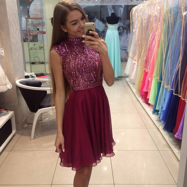 Burgundy High Neck Sleeveless Beaded Bodice Crystal Homecoming Dress Short Vestido De Formatura Curto 2016 New