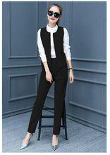 2016 Latest Autumn Fashion Women Clothing Elegant Shirt Vests Long Pants Three pieces Suits Casual Slim Big yards Sets NZ338