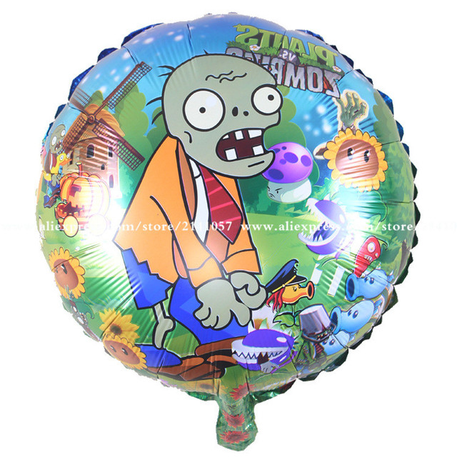 10pcslot 18inch plants vs zombies balloon cartoon mylar ballons birthday party decoration globos foil