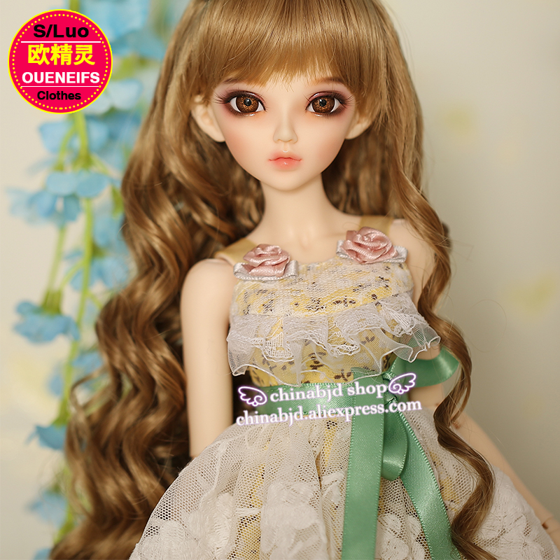 OUENEIFS  girl Bud silk skirt with shoulder-straps 1/4  bjd sd customization doll clothes,have not bjd sd doll or wig  YF4-103 oueneifs girl boy baby jumpsuits send cap customization bjd clothes doll 1 12 clothes yf12 29 30 31 32 have not wig or doll