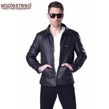 MAPLESTEED marka mężczyzna skórzana kurtka 100% prawdziwa skóra bydlęca czarny brązowy Vintage gruby Bomber mężczyźni prawdziwej skóry kurtki zimowe 167
