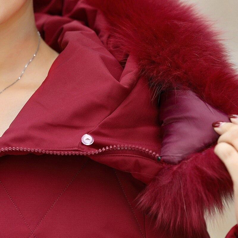 2020 novo inverno pato branco para baixo jaqueta feminina médio longo com capuz mais tamanho jaqueta senhoras era fina pele de raposa para baixo casaco feminino - 5