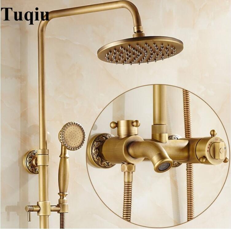 Роскошные античная латунь термостатический осадки Душ Набор кран ванна смеситель ручной душ Термостатический Для ванны и душа Смесители