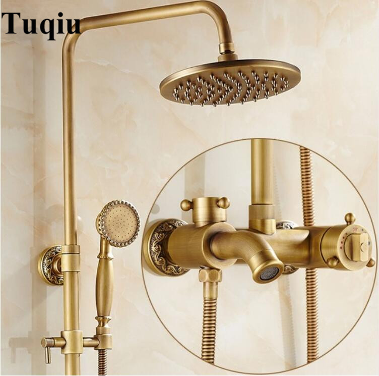 Luxury Antique Brass Thermostatic Rainfall Shower Set Faucet Tub Mixer Tap Hand held Shower Thermostatic Bath and shower faucets quyanre antique brass shower faucets set 8 rainfall shower head commodity shelf handle mixer tap swivel tub spout bath shower