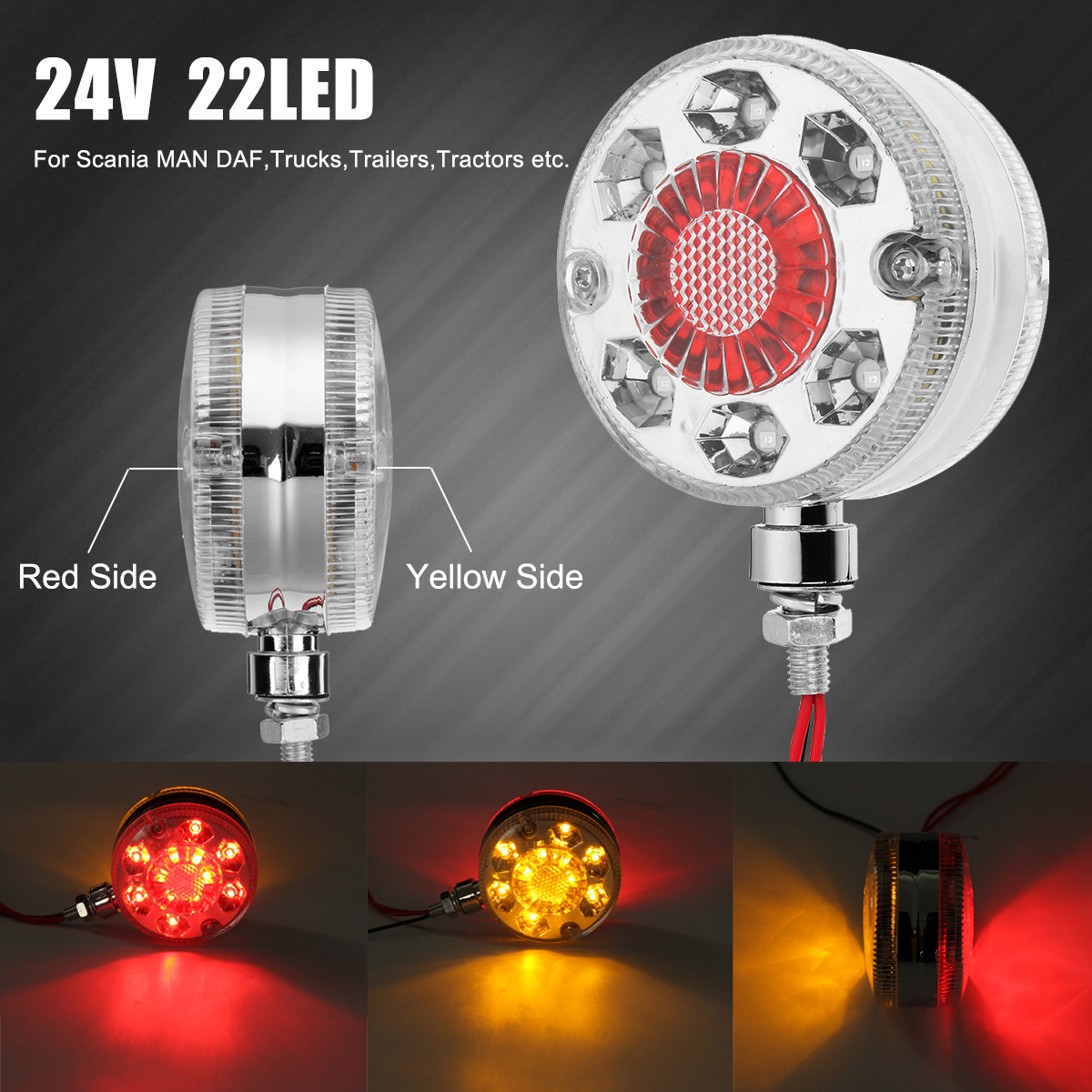 4PCS of 24 LED Double Face Light 3 Round Red//Amber// White with Clear Lens SEMI TRUCK FENDER