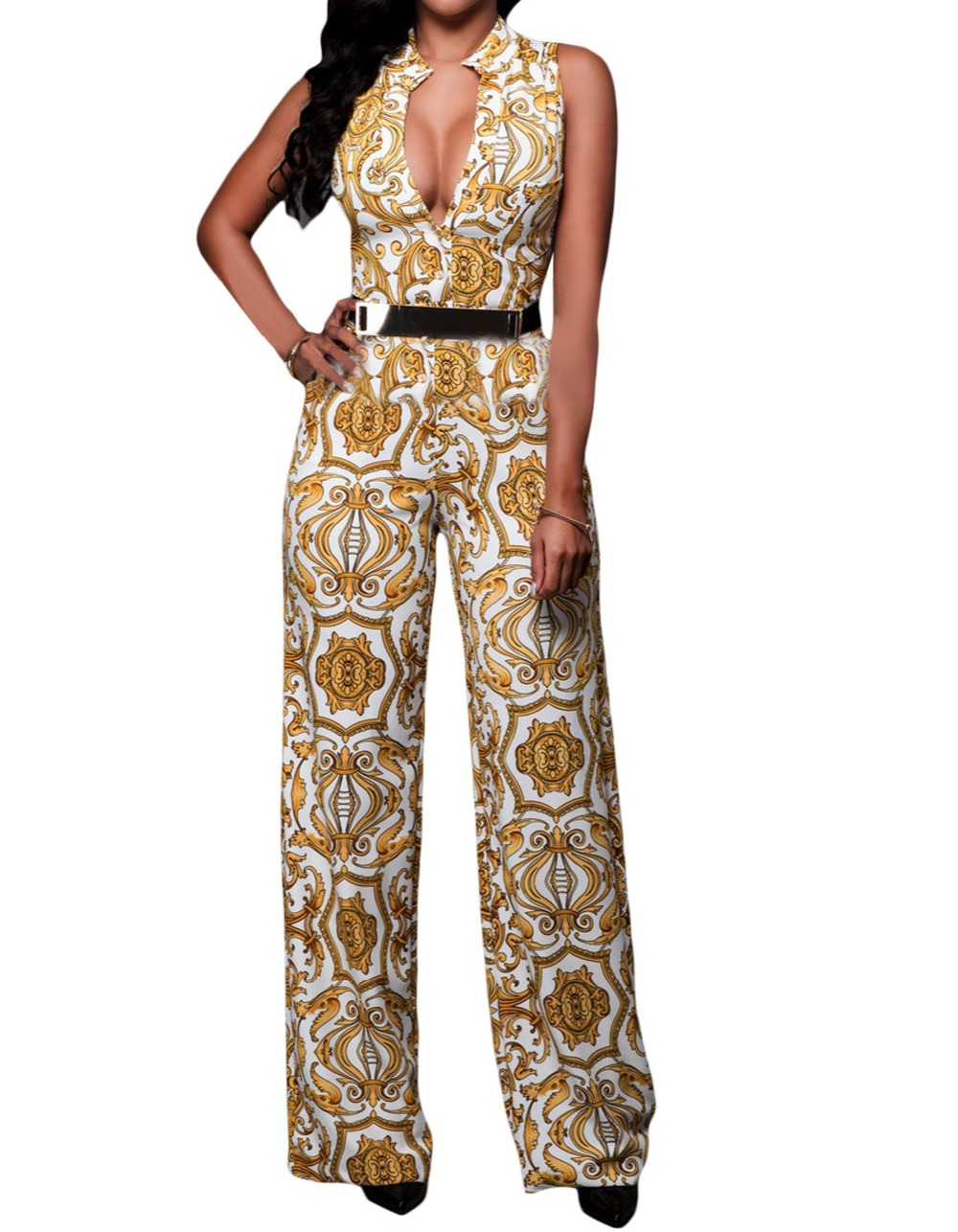 71a3ab9c6968 FGirl Body Jumpsuits Woman Tapestry Print Belted Jumpsuit Bodycon ...