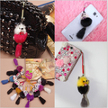 new black leather wallet Pom Pom real fur monster doll pair keychain charm golf cart bag pendant strap cartoon keychains