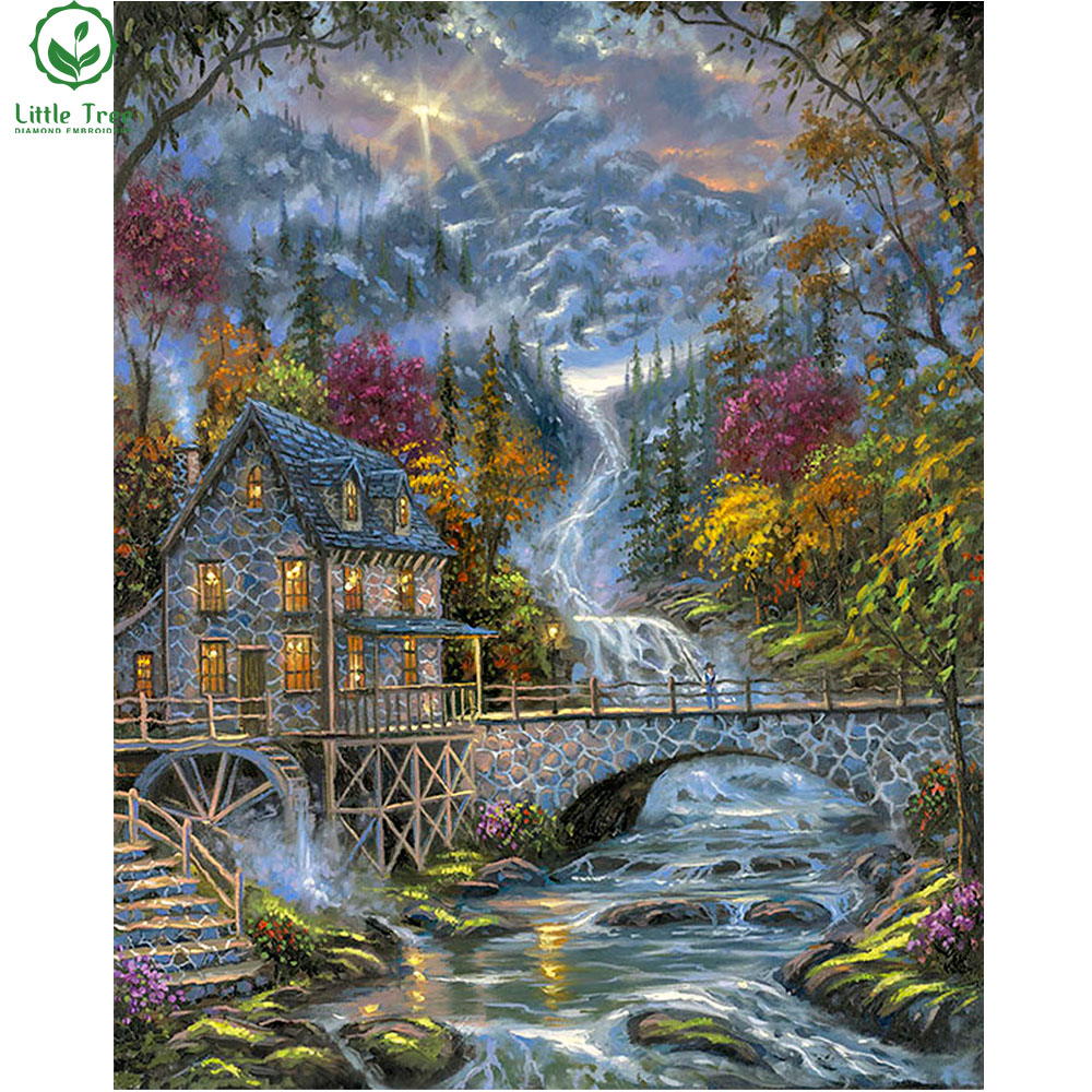 Log cabin in the woods painting - Home Decor Cross Stitch Full Diamond Painting Mountain Water Cabin Water Wheel 3d Mosaic Embroidery Diamond