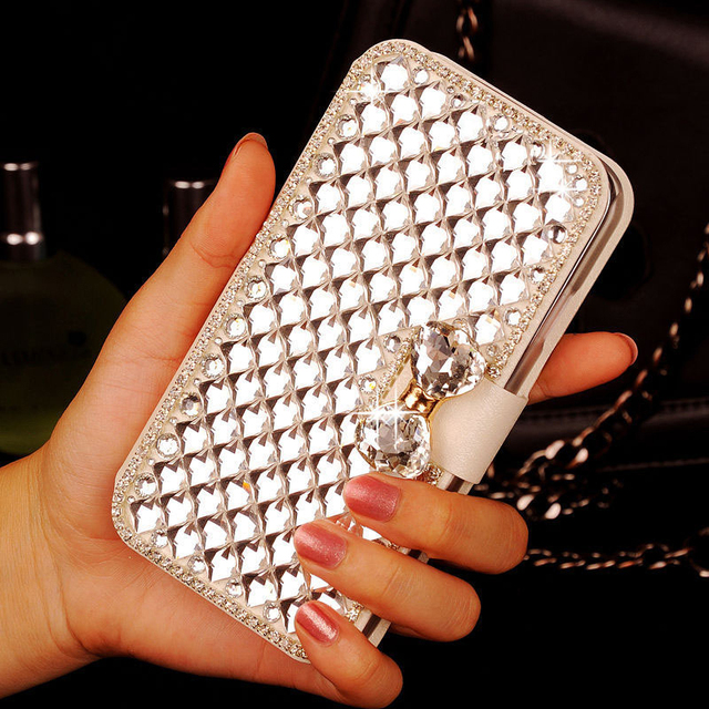 Luxury Bling Crystal Rhinestone White Side Leather Case Cover for Sony Xperia M2 Dual SIM S50H D2302 D2303 D2305 D2306