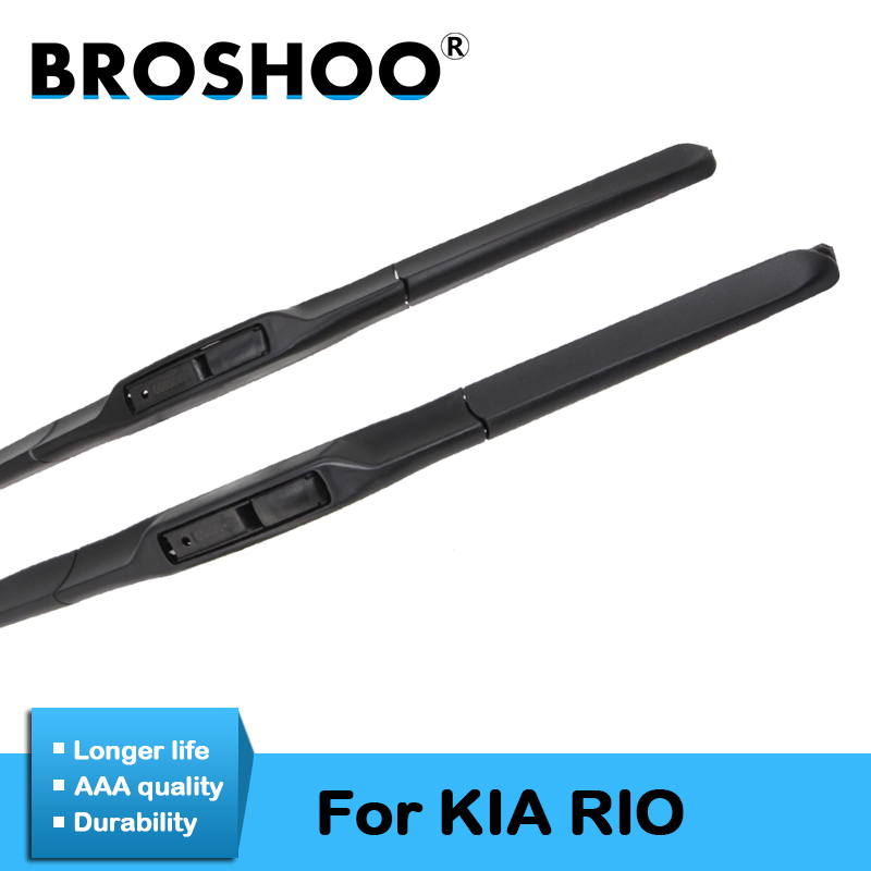 BROSHOO Car Windscreen Wipers Blade Natural Rubber For <font><b>KIA</b></font> <font><b>Rio</b></font>/<font><b>Rio</b></font> JB/<font><b>Rio</b></font> UB Fit Standard Hook Arm Model Year From 2002 To 2017 image