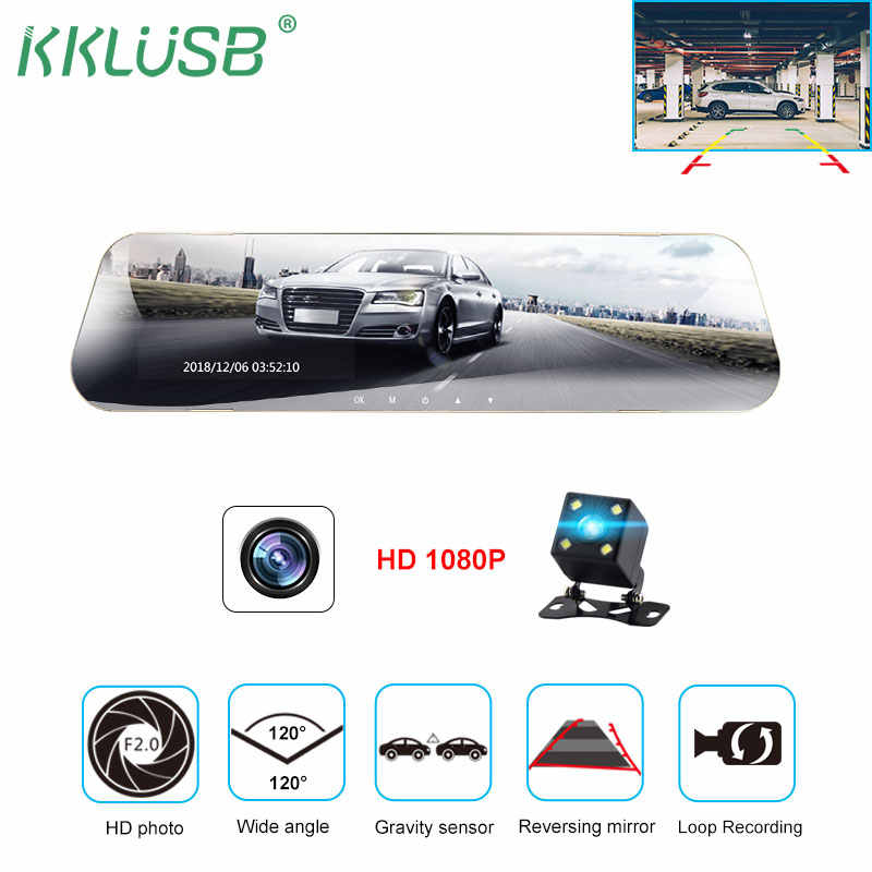 car dvr dual len dash camera rear view mirror auto dashcam recorder registrator in car video full hd dash cam Vehicle two camera