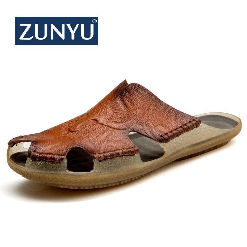 ZUNYU 2019 Neue Qualität leder Nicht-slip Hausschuhe Männer Strand Sandalen Komfortable Sommer Schuhe Männer Hausschuhe Classics Männer Flip -flops