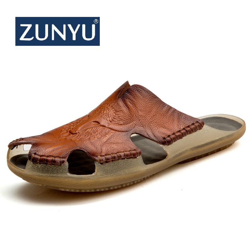 ZUNYU 2019 New Quality Leather Non-slip Slippers Men Beach Sandals Comfortable Summer Shoes Men Slippers Classics Men Flip Flops