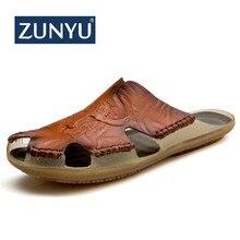 ZUNYU 2019 New Quality leather Non-slip Slippers Men Beach Sandals Comfortable S