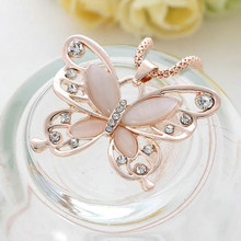 Women's Opal Rhinestone Inlaid Butterfly Pendant Sweater Chain Necklace Jewelry(China)
