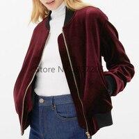 Ladies Wine Red Velvet Bomber Jacket Vintage Pleated Sleeve Side Pocket Stand Collar Pilot Jacket 2016