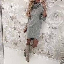 Осень-зима, женское трикотажное платье, повседневное, одноцветное, свободное, мини-платье, сексуальная мода, водолазка, длинный рукав, толстый теплый свитер, платье