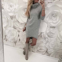 Autumn Winter Women Knitted Dress Casual Solid Loose Mini Dresses