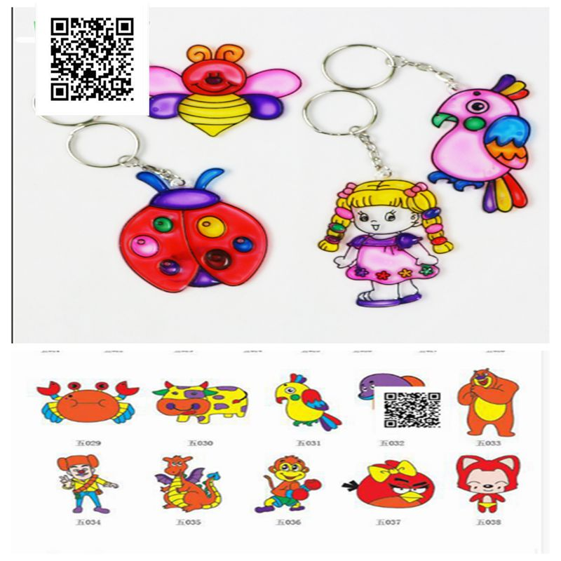 April Du Sun Catchers For Kids Keychain Painting With Six Colors Pigment,Children Art Diy Toys 15pcs Random Patterns