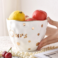 Creative Brief Gold Plated Dot Lace shaped White Ceramic Procelain Fruit Salad Bowl Soup Noodles Rice Bowl Tableware Family Gift