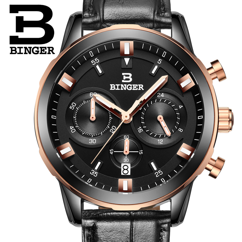 BINGER Fashion Leather Sports Quartz Watch For Man Military Chronograph Wrist watches Men Army Style Free