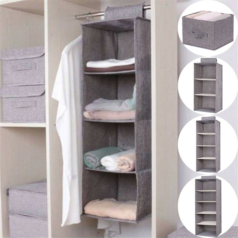 Image 2 - Cotton Closet Wardrobe Cabinet Organizer Hanging Pocket Drawer Clothes Storage Clothing Home Organization Accessories Supplies-in Hanging Organizers from Home & Garden