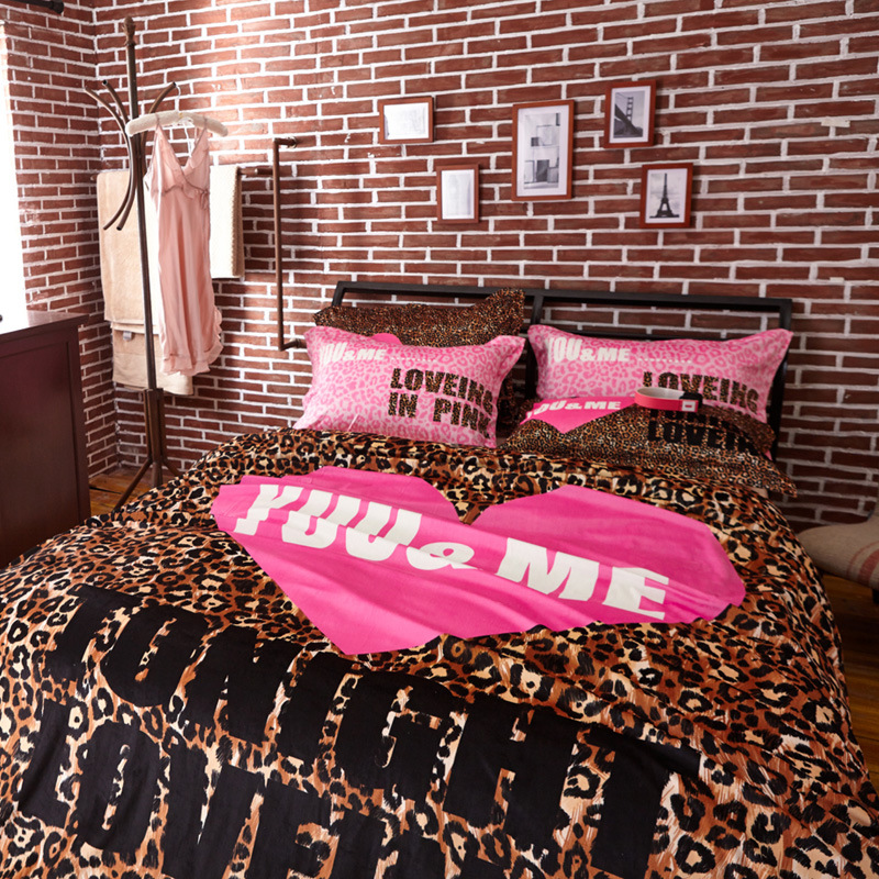 Winter Brand Vs Secret Pink Soft Animal Print Fashion Velvet Victoria Bedding Set Bed Sheets