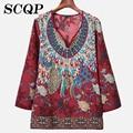 Floral Impresso Algodão Mulheres Camisas 2016 Novas Senhoras Do Vintage Vestuário Feminino Elegante Escritório Blusa Tops Bordado Camisas Das Senhoras