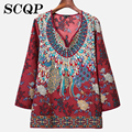 Floral Printed Cotton Women Shirts 2016 New Vintage Ladies Clothing Elegant Female Office Blouse Tops Embroidery Ladies Shirts
