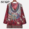 Impreso Floral de Algodón Camisas de Las Mujeres 2016 Nuevas Señoras de La Vendimia Ropa de Mujer Elegante Oficina Blusa Tops Bordado Camisas de Las Señoras