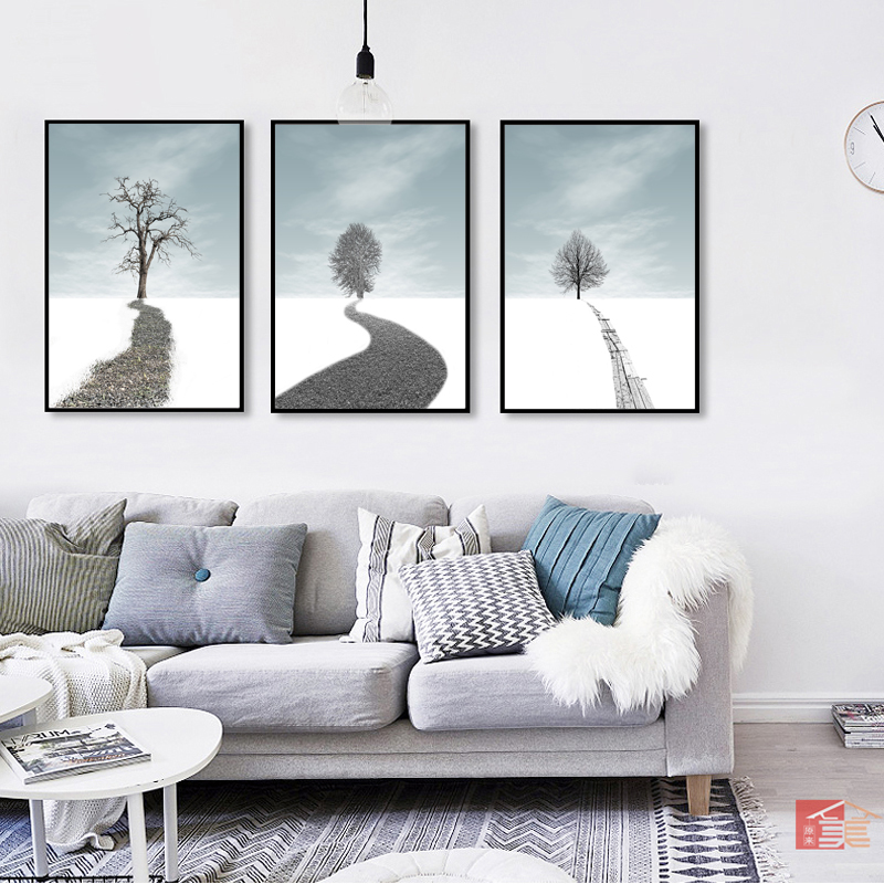 Nordic style snow landscape poster print white tree wall art canvas painting picture for living room home decoration