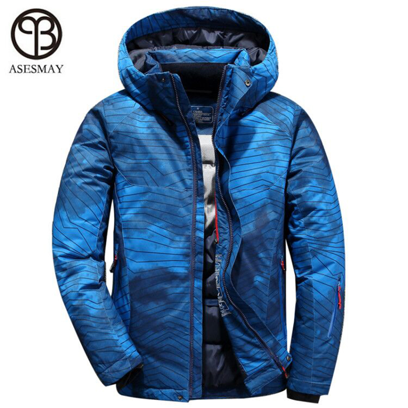 Asesmay Hot Sale Men's White Duck Down Jacket Winter Warm Down Coats Waterproof Hooded Down Parkas Mens Overcoat Free Shipping