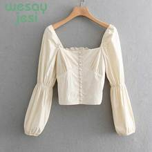 Vintage Blouse Women Short Ladies Tops Square Collar 2019 new summer Retro Long Sleeve Womens Shirts