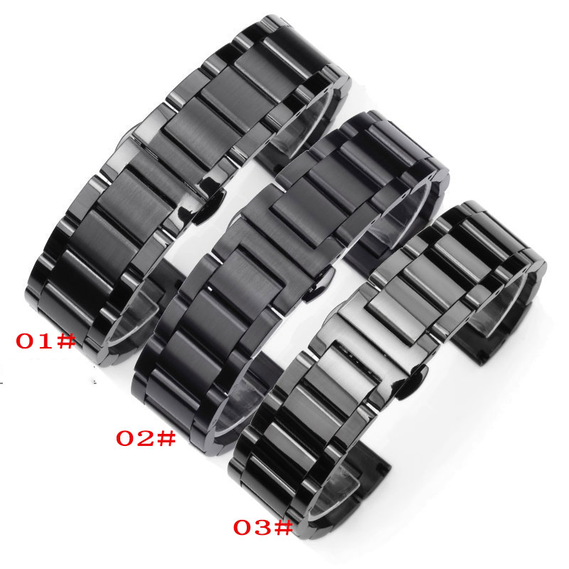 Free Shipping Stainless steel Watchband solid metal watch strap butterfly buckle black width 18mm 20mm 21mm 22mm 23mm 24mm
