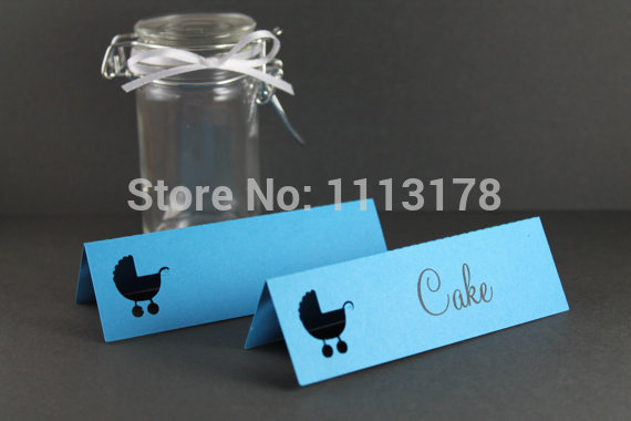 blue babycart party place card table name card baby shower ideas favor gift tagsbaby birthday party table number name cards