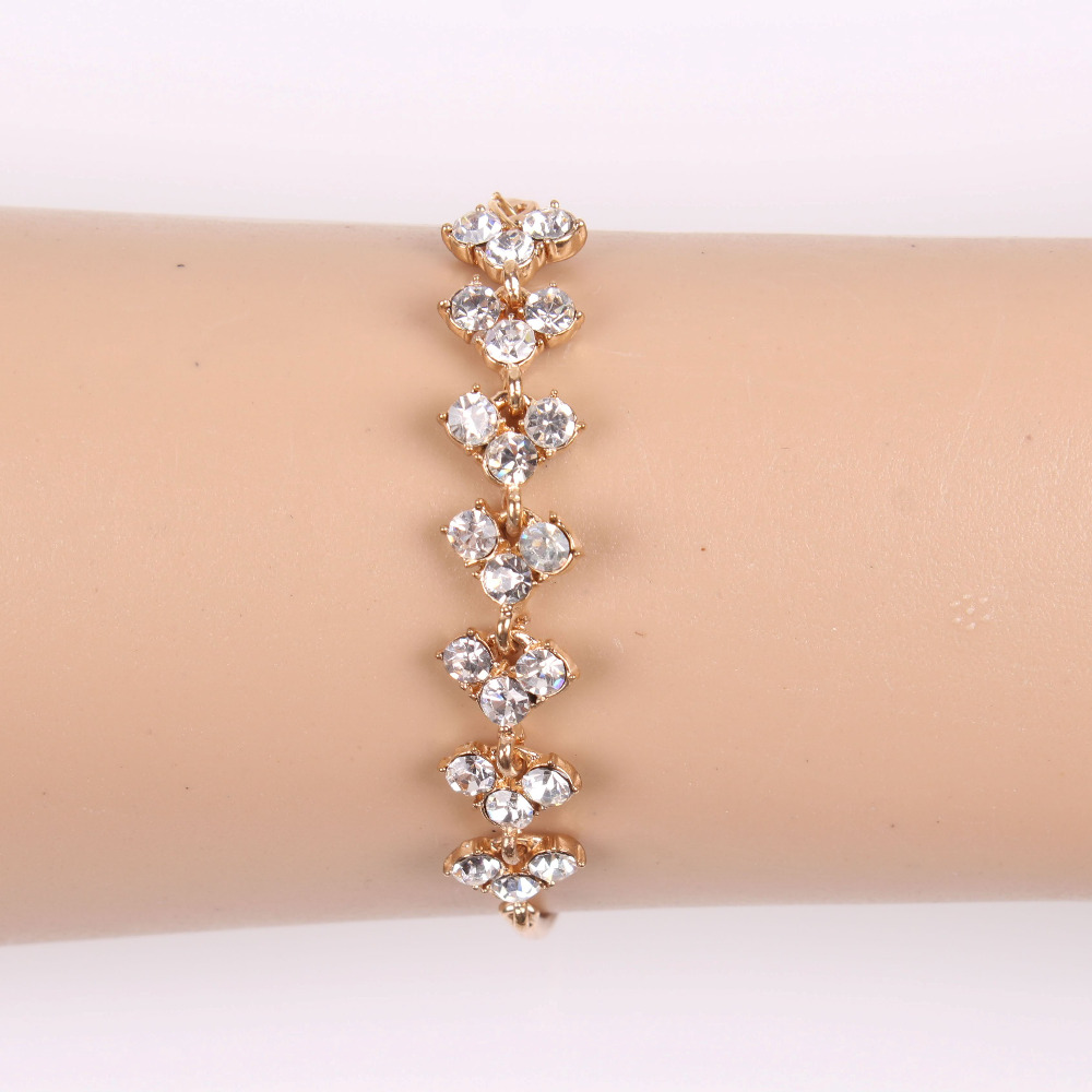 2017 New Fashion Crystal Bead Gold Bracelet Jewelry Design For Girls ...