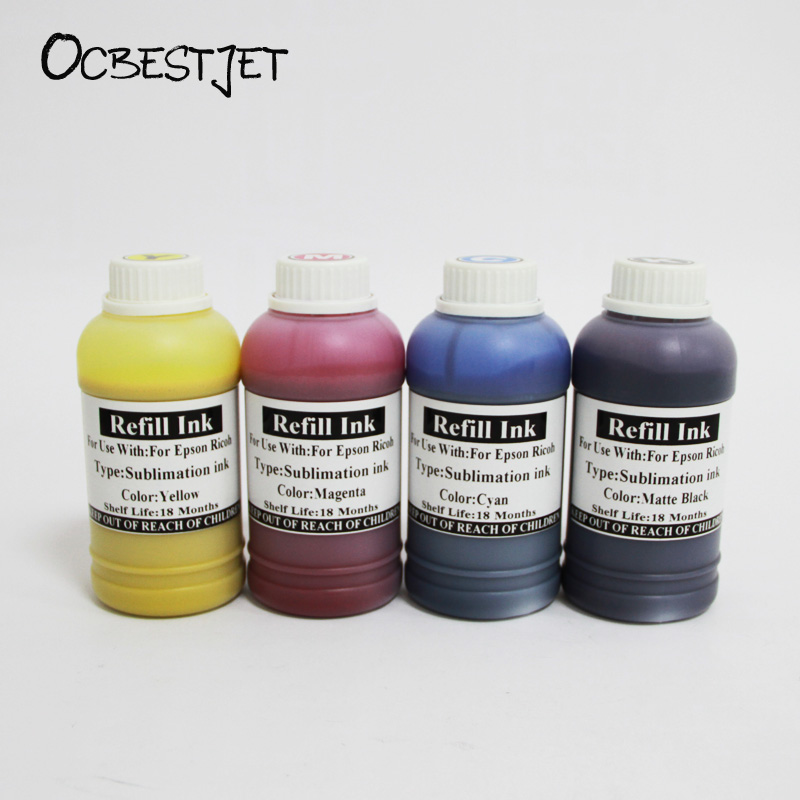 OCBESTJET 250ML Universal Sublimation Ink For Epson For Ricoh In 4 Color Heat Transfer Ink For china metal silk etc,